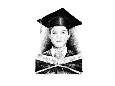 Bachelor college bachelor graduation digital art portrait sketch pencil art illustration