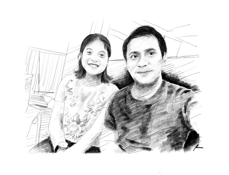 Let's have a date selfie fiance couple digital art portrait sketch pencil art illustration