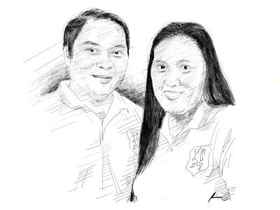 Couple anniversary couple digital art portrait sketch pencil art illustration