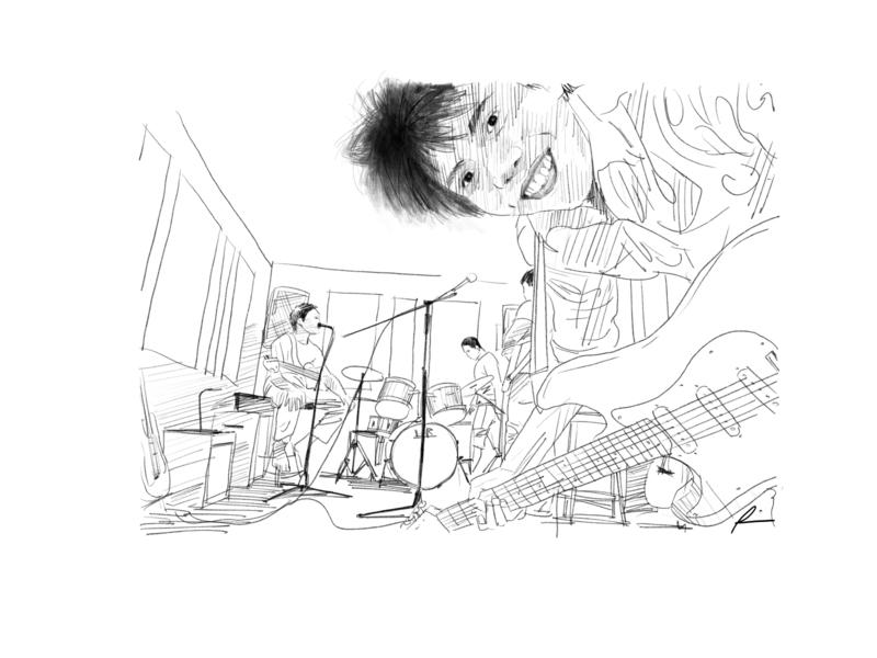 Jamming jamming music people digital art sketch pencil art illustration