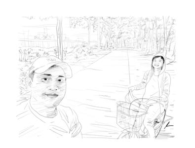 Biking biking couple digital art sketch pencil art illustration