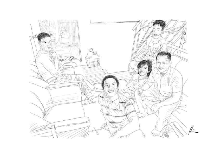Brothers boys bonding friends digital art sketch pencil art illustration