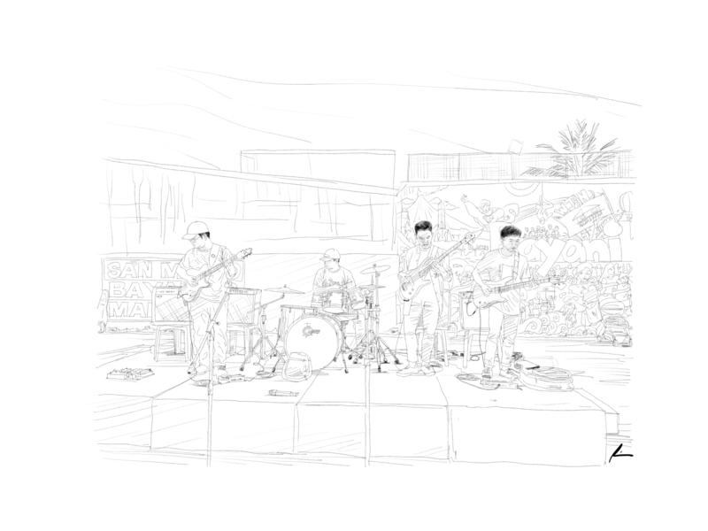 Outdoor gig musician band gig people digital art sketch pencil art illustration