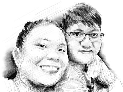 Couple couple people portrait digital art sketch pencil art illustration