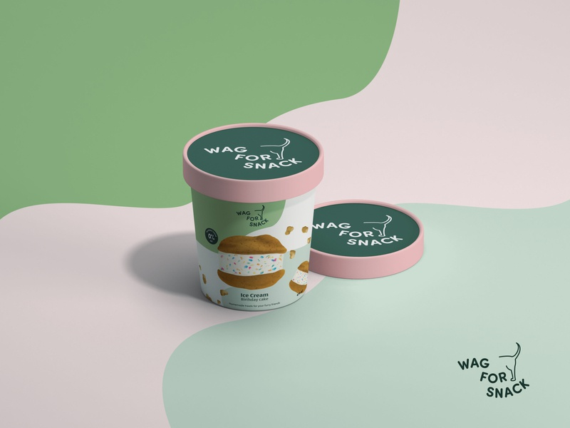 Wag For Snack - Birthday Cake Ice Cream package dogs dog food dog treats sweets icecream product packaging visual identity design graphic design branding concept brand identity illustration
