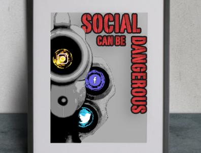 Social Can Be Dangerous stencils sprai paint logo illustration style stencils stencil art stencil photography photoshop social