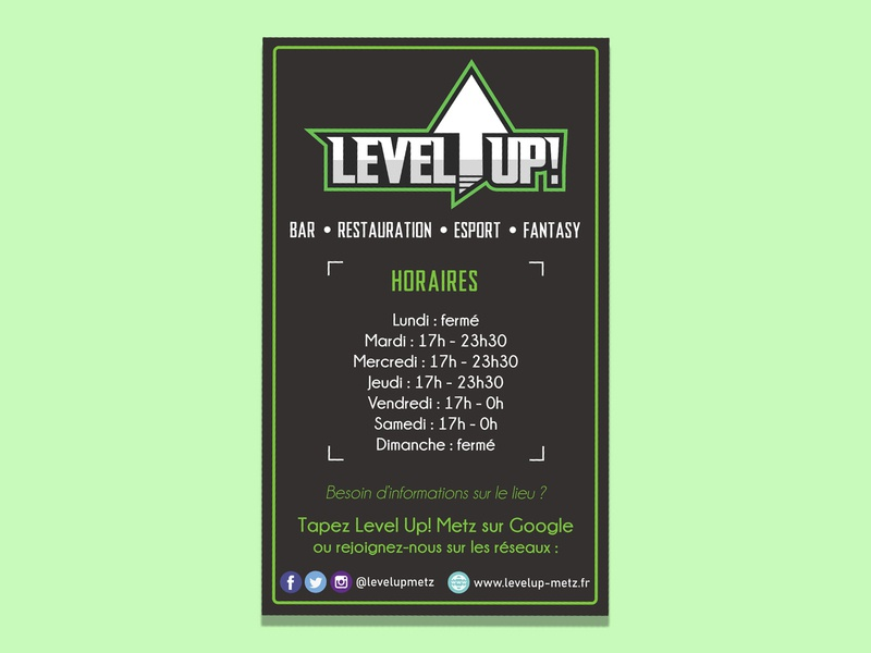 Level Up! signaletic design business poster signaletic