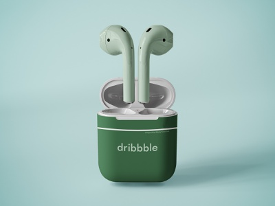 Airpods branding device mockup headphones web logo photoshop illustration color green design stylish minimal dribbble apple airpods