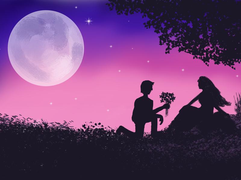 Proposal under the Moon painting moon romantic night fresco digital artist digital art digital design adobe