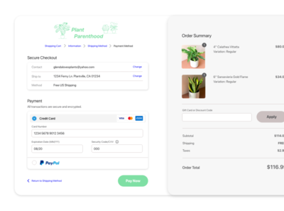 Daily UI #002 - Plant Parenthood Checkout/Payment page uidesign dailyui 002 daily 100 challenge uxdesign ui uichallenge design dailyui adobexd