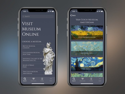 Visit Museum Online app painting sculpture ui design art museum exhibition