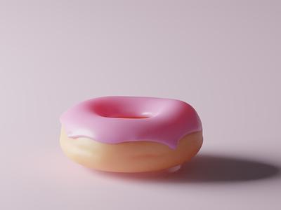Donut 3d model. Minimalism illustration food app design minimalism donut