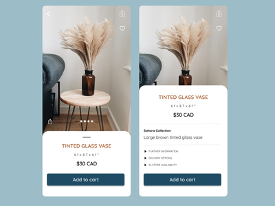Home decor Ecommerce app concept - add to cart dailyuichallenge dailyui 002 dailyui design figma ecommerce shop ecommerce app app design ui uiux product page