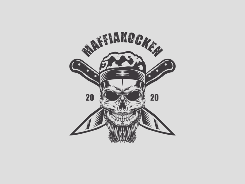 MaffiaKocken 2020 skull illustration company logo bussines design logo scully scull vitage vintage logo restaurant logo restaurant cooking cook knife maffia