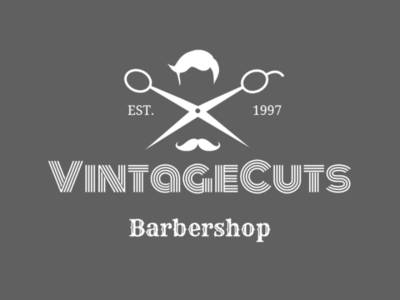 Vintage barbershop vintage retro mustache cuts scissors barbershop barber logo