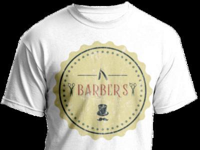 Retro barbershop t-shirt old straight razor scissors mustache retro vintage printing t-shirt logo barbershop