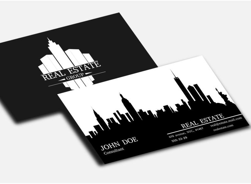 Real estate business card house skyscrapers buildings real estate business card logo