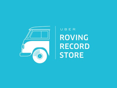 Roving Record Store bus van blue music promotion illustration store record