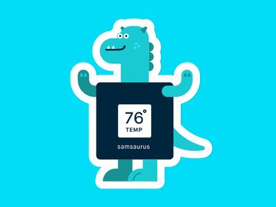 Samsaurus design art green blue illustration sticker character cute dinosaur samsara