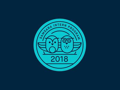 Intern Program Badge icon mentor owl illustration monoline badge intern blue design art samsara