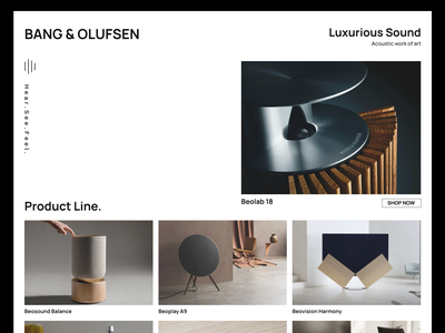 Bang & Olufsen ui uiux adobe xd typography design branding minimal minimalism brand identity brand design graphic design web design