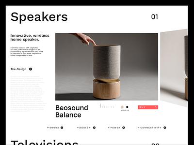 Bang & Olufsen tech sound branding ux design minimalism web design uiux typography brand identity brand design graphic design adobexd