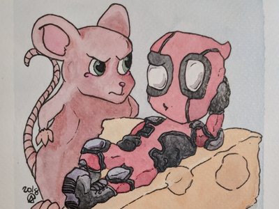 Deadpool and mouse cheesy mouse painting cute art cute funny deadpool