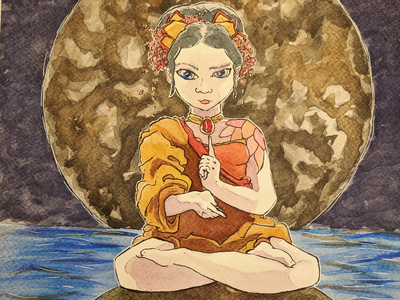 At peace pretty beatiful lady mysterious full moon illustration praying peaceful peace meditation