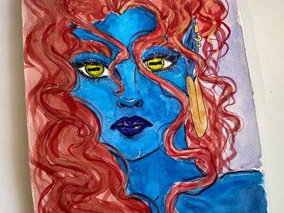 Damnation gold painting pretty beatiful demon devil mystique redhead blue