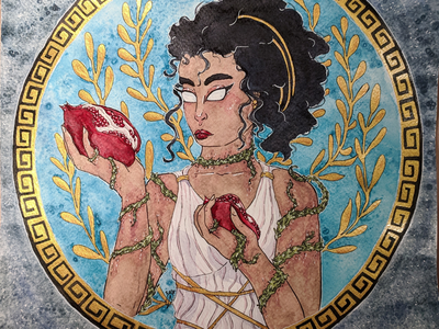 Pomegranate watercolour beatiful greek god pomegranate goddess greek mythology