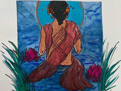 Lady of the Lake lotus painting peaceful original art swimming karma