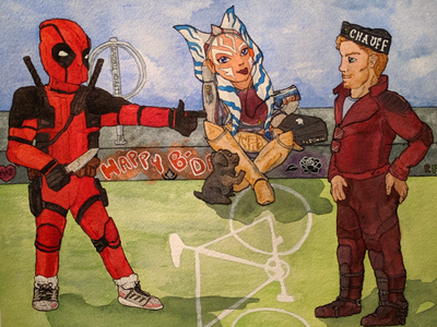 Personalized fan art for a commission I did commission fanart movies comic books deadpool marvel guardians of the galaxy star lord star wars ahsoka tano