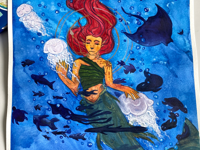 Under the sea fish ocean art mermaid mermay