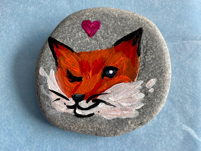 Foxy rock canada creative acrylic painting rocks foxes