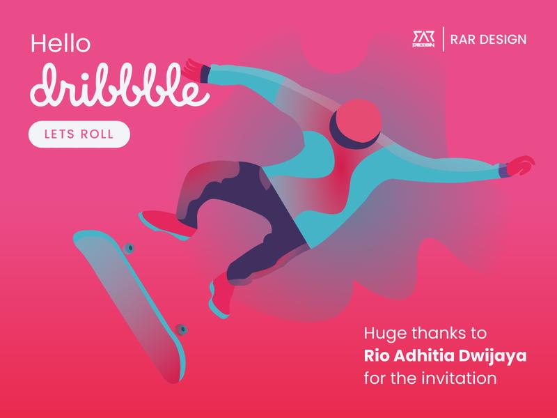 Hello Dribbble flat logo branding vector illustration design
