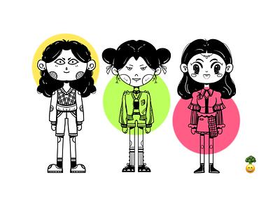 girls branding design illustration