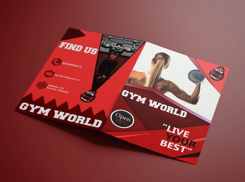 First Ever Brochure Design gym red and white first first design red adobe photoshop brochure mockup brochure design brochure illustrator branding advertisment design adobe illustrator