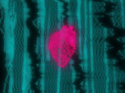 Heart Lines minimal red heart glitch vhs modulation plexus