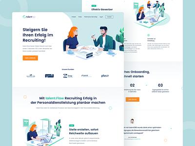 Talent360 Homepage product design dekstop layout bootstrap grid talent website illustration usage uiux minimal clean design job search