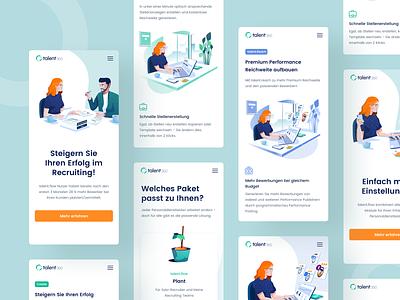 Talent360 Mobile hiring platform job search user experience userinterface minimal clean design uiux illustration design talent website bootstrap grid product design