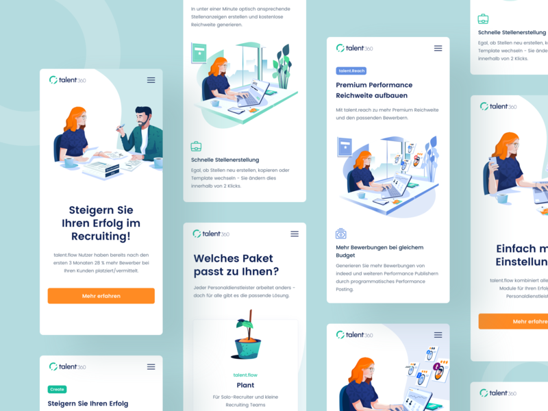Talent360 Mobile hiring platform job search user experience userinterface minimal clean design uiux illustration design talent website bootstrap grid product design