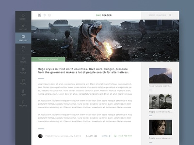 Onereader Responsive Template online reader template flat news clean fotos typography