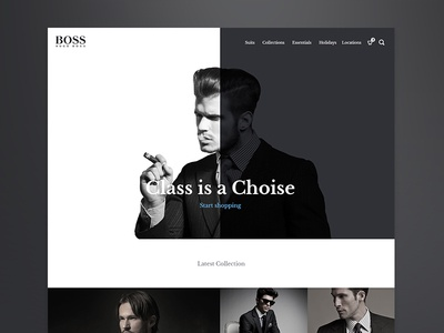 Hugo Boss Concept clean modern simple design user friendly design suits online ecomerce responsive grid layout dark black and white bootstrap grid clothing website design e-commerce shop hugo boss homepage redesign ui ux