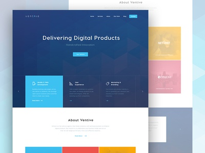 Ventive Landing modern interface portfolio design digital agency blue interface colorfull design concept landing page redesign corporate website design agency homepage polygon header ventive ux ui
