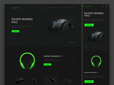 Razer Redesign concept work ux ui green color cta landing page design razer homepage design clean minimal design mobile responsive brand redesign razer concept redesign dark interface black colors