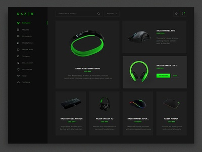 Razer Store Redesign black colors dark interface razer concept redesign brand redesign mobile responsive clean minimal design razer store dashboard bootstrap grid layout store design concept