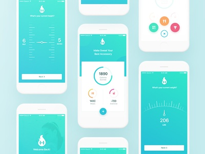 Fitness Application modern ios app mobile fitness application modern clean design gradient color palette get started white mockup log in screen height weight selection fit application