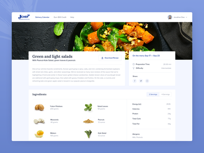 Jchef Meal Page user experience user interface cooking recipe dashboard modern minimal layout gift redeem page design food ordering platform ui ux visual clean design web design user interface kosher meal food delivery