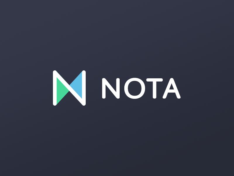 Nota Logo nota logo exploration lending platform n monogram exchange identity colorful double triangles blue green dark colors n logotype full branding identity