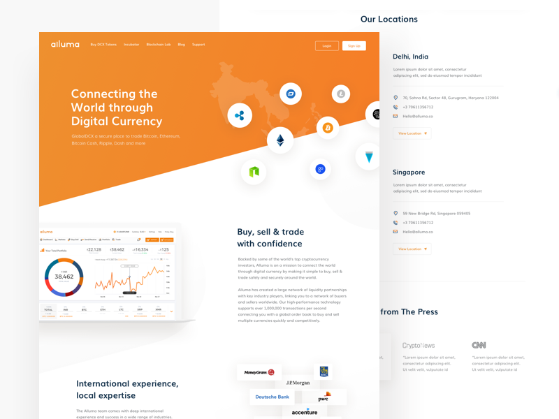 Alluma About us about us page modern icongraphy blockchain trading design device mockup implementation clean white interface orange black colors asia market cryptocoins trading view ux ui cryptocurrency trading website alluma crypto exchange platform